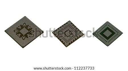 Three Laptop video chips on white background - stock photo
