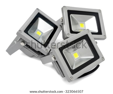 Three led projector isolated on white background - stock photo