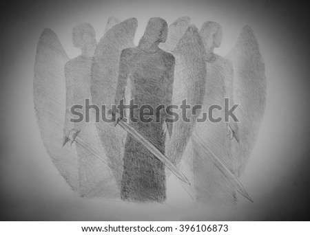 three light angel with a sword - stock photo