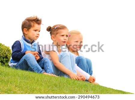 Three little friends together. Picture with space for your text. Happy holidays concept. - stock photo