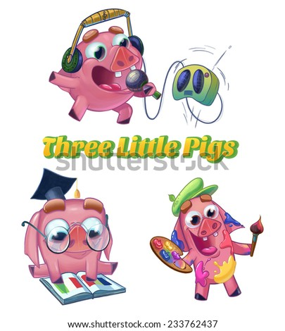Three Little Pigs from Classic Fairy Tale. Musician, scientist and artist characters. Cartoon raster illustration on white background isolated. - stock photo