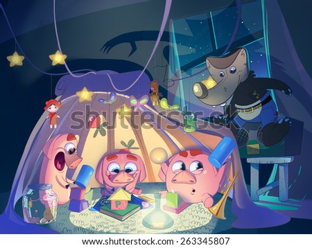 Three little pigs in the playing tent. Kids book cover. Digital background raster illustration. - stock photo