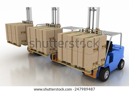 Three loaders with cargo. 3d image on a white background - stock photo