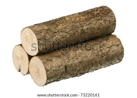 Three logs are isolated on a white background - stock photo