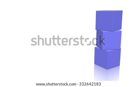 Three magenta 3d blank concept boxes on top of each other, isolated on white background. Rendered illustration. - stock photo