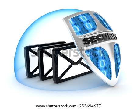 Three mail and shield on white background (done in 3d)   - stock photo