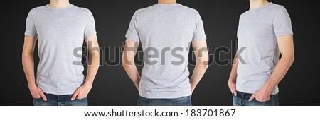 three man in gray polo t-shirt on a white background - stock photo