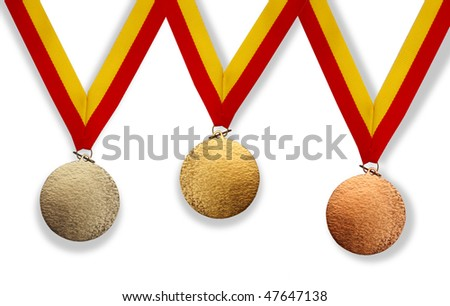 Three medals; gold, silver and bronze - stock photo