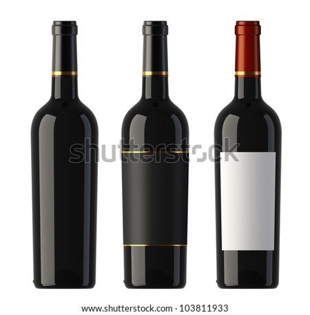 Three merged pictures of New World red wine bottles, render - stock photo