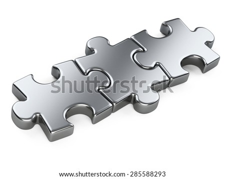 three metallic puzzle pieces. 3d illustration isolated on a white background - stock photo
