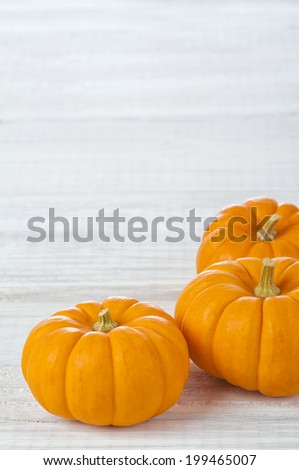 Three Mini Pumpkins on Rustic Painted White Board Background with room or space for copy, text.  Vertical - stock photo