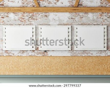 Three mock up posters in loft space, 3d render - stock photo