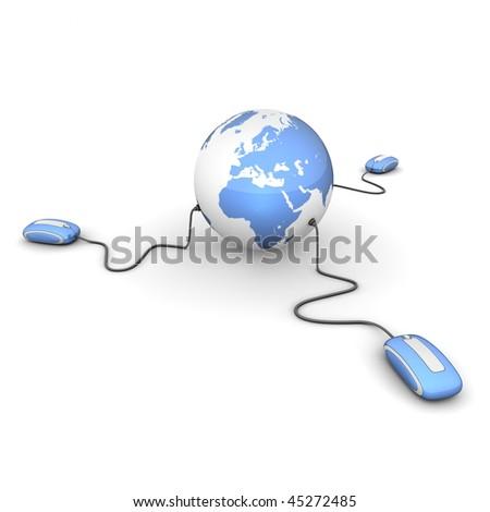 three modern shiny blue computer mice connected to a shiny blue globe - stock photo