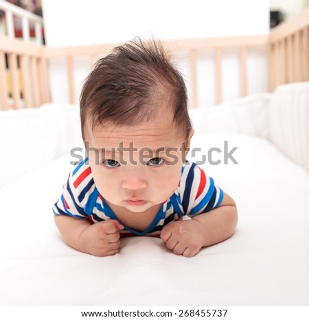 three month asian baby,asian infant - stock photo