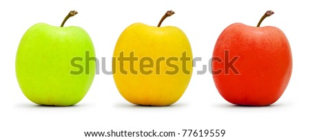 Three multi-colored apples isolated on white - stock photo