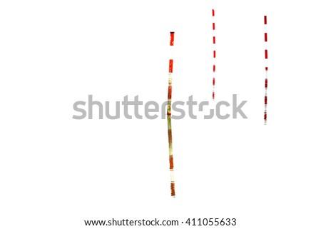 Three navigation marks leading the way on white, horizontal - stock photo