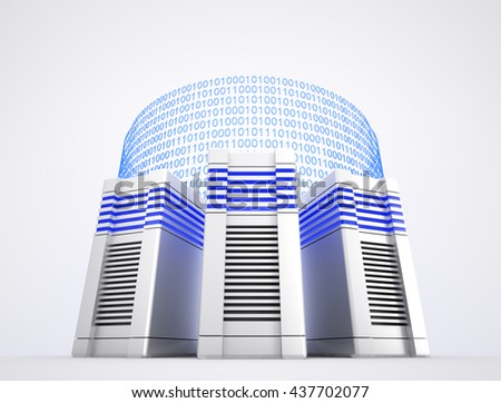 Three network servers and binary codes on white background. 3d illustration. - stock photo