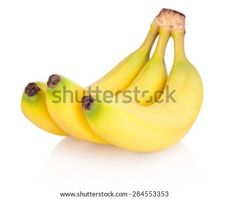 Three of bananas isolated on white background - stock photo