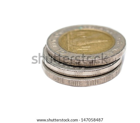 three of ten thai bath coin, currency - stock photo
