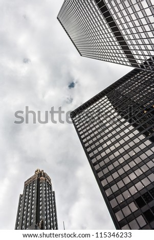 Three Office highrise buildings in the Chicago financial district - stock photo