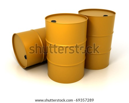 Three Oil Barrels Isolated on White - stock photo