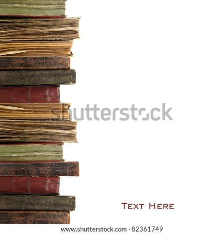 Three old books on white background - stock photo