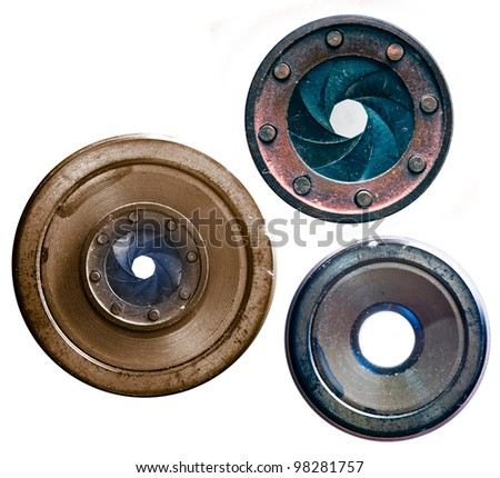 three old lenses - stock photo