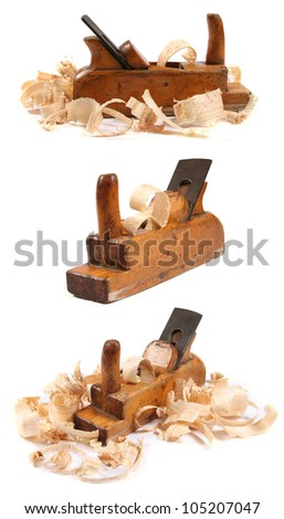 three old wooden carpenter's planes - stock photo
