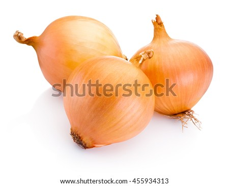 Three onion bulbs isolated on white background - stock photo
