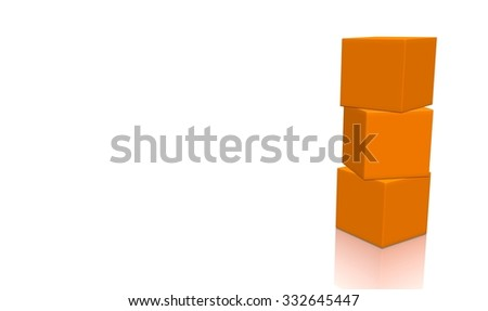 Three orange 3d blank concept boxes on top of each other, isolated on white background. Rendered illustration. - stock photo