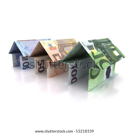 Three Origami house of  euro isolated on white background - stock photo