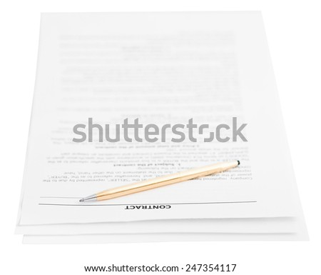 three pages of sales contract and golden pen isolated on white background - stock photo