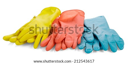 Three pairs rubber gloves isolated on white background - stock photo