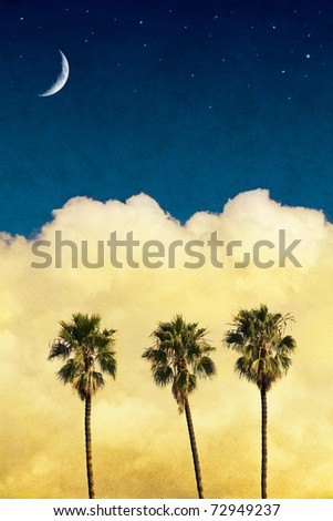 Three palm trees with yellow clouds and a night sky with a crescent moon and stars.  Image has a vintage textured paper background. - stock photo