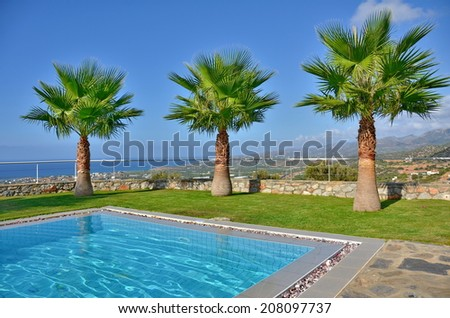 Three palms on a summer vacation - Palm trees by the pool with the Cretan mountains in the background in Malia, Crete near Heraklion - stock photo