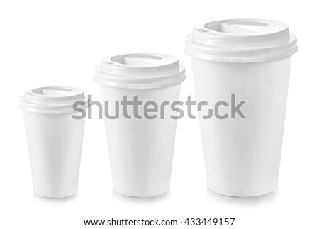 Three paper cups different sizes isolated on white - stock photo
