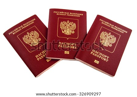 Three passports Russian Federation isolated on white background - stock photo