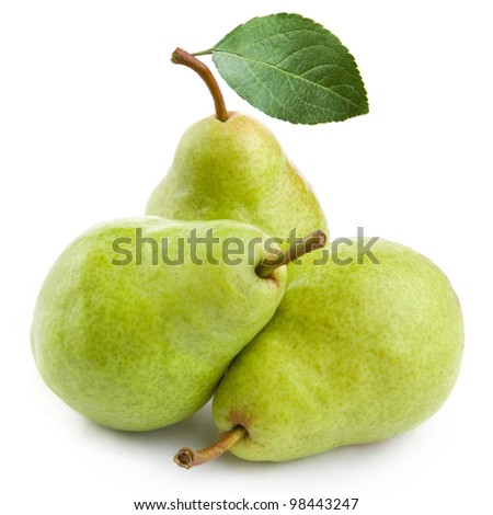 Three pears isolated on white background - stock photo