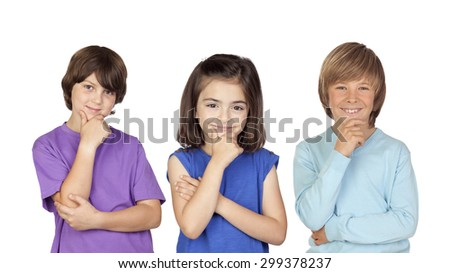 Three pensive children isolated on a white background - stock photo