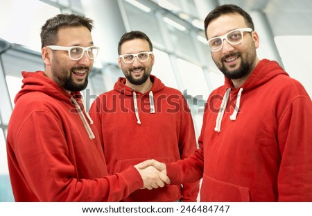 Three people of one person - stock photo