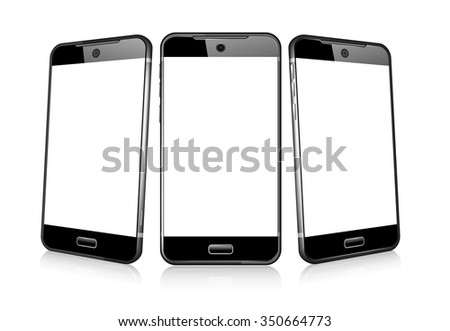 Three Phone Cell Smart Mobile 3D and 2D - Raster Version - stock photo