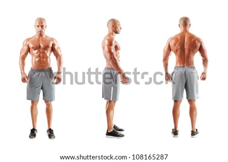Three photos of a muscular man on a white background - stock photo