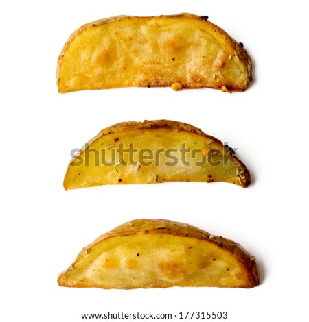 Three pieces of baked potatoes isolated on white - stock photo