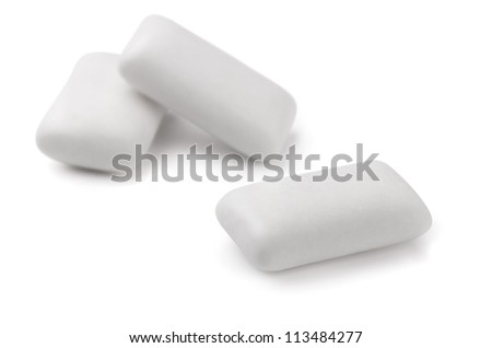 Three pieces  of white chewing gum isolated on white - stock photo