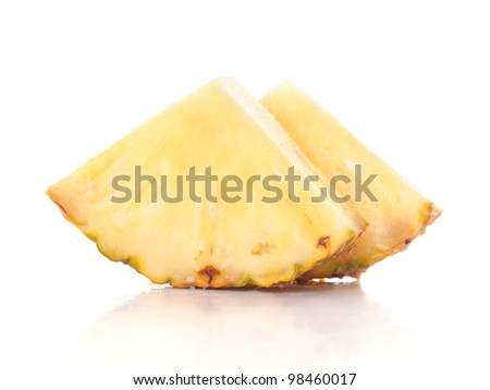 three pineapple slices, isolated on white background, with light shadow - stock photo
