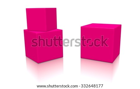 Three pink 3d blank concept boxes with shadows isolated on white background. Rendered illustration. - stock photo