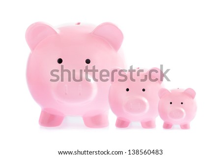 Three pink piggy banks isolated on white background - stock photo