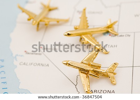 Three Planes Heading to California. - stock photo