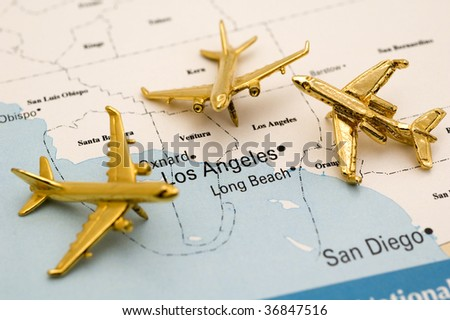 Three Planes Heading to LA. - stock photo