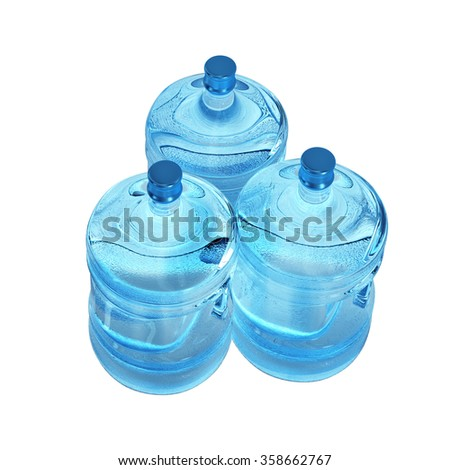 Three plastic bottles of water isolated on white background - stock photo